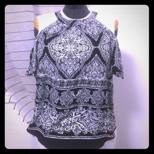 Cold shoulder, high neck, short sleeve blouse